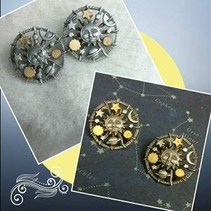 Vintage Pewter Sun Moon & Stars Earrings Signed JJ